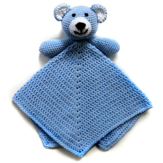 Crochet Pattern For Baby Security Blanket : Teddy Bear Security Blanket PDF Crochet by CrochetSpotPatterns