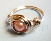 Pink Pearl Ring   Pink Freshwater Pearl Ring   Sterling Silver Ring   Wire Wrapped Ring