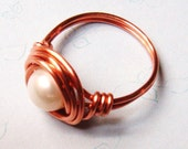 Pearl Ring - Vintage Glass Pearl Ring -  Copper Ring - Wire Wrapped Ring - Copper Jewelry