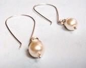 Vintage Glass Pearl Wire Wrap Jewelry Dangle Earrings