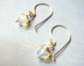 Sea Opal Earrings   Sterling Silver Earrings   Silver Earrings  Wire Wrap Jewelry   Wire Wrap Earrings