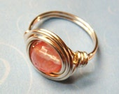 Cherry Quartz Ring - Cherry Quartz Faceted Gemstone and Sterling Silver Wire Wrapped Ring