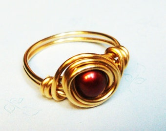 Red Pearl Ring  Cherry Red Freshwater Pearl Ring  14k Gold Filled Ring  Wire Wrapped Ring