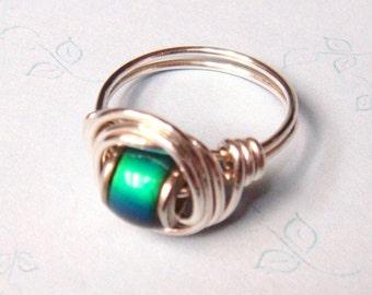 Mood Ring   Mood Bead Ring   Sterling Silver Mood Ring  Wire Wrapped Ring  Silver Jewelry Sterling Silver Ring