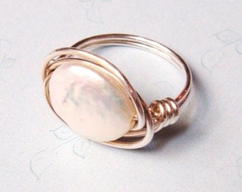 Pearl Ring  White Coin Pearl Ring  Sterling Silver Wire Wrapped Ring