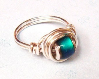 Mood Ring    Mood Bead Ring    Sterling Silver Ring    Wire Wrapped Ring