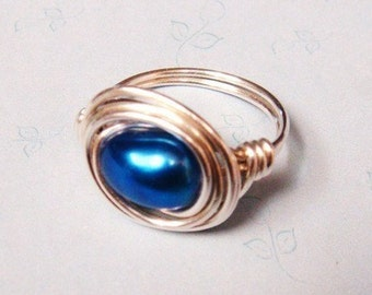 Pearl Ring   Cobalt Pearl Ring   Blue Pearl  Blue Freshwater Pearl Ring   Blue Ring   Sterling Silver Ring