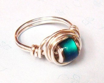 Mood Ring   Mood Bead Ring   Sterling Silver Ring   Wire Wrapped Ring  Silver Jewelry  Mothers Day Gift