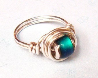 Mood Ring   Mood Bead Ring   Wire Wrapped Ring  Wire Wrapped Jewelry
