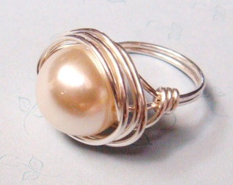 Pearl Ring   Swarovski Pearl Riing   Sterling Silver Ring   Wire Wrapped Ring