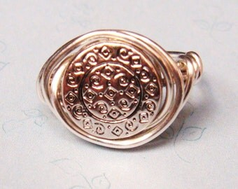 Medallion Ring   Sterling Silver Ring    Wire Wrapped Ring