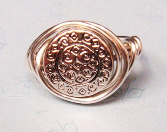 Sterling Silver Ring  Silver Ring  Medallion Ring   Wire Wrapped Ring