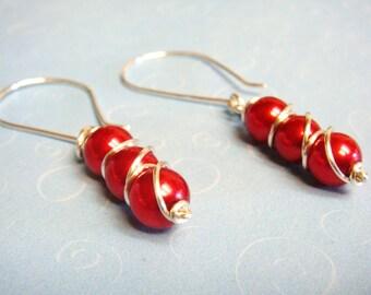 Pearl Earrings  Sterling Silver Earrings  Red Earrings   Red Glass Pearl Earrings  Valentines
