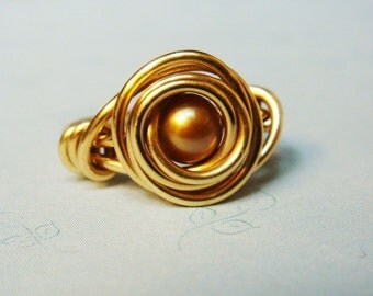 Gold Ring  Gold Pearl Ring  Gold Freshwater Pearl Ring  14K Gold Filled Wire Wrapped Ring  Gold Jewelry