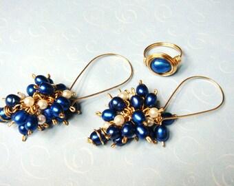 Cobalt Blue Pearl 14K Gold Wire Wrap Earrings and Matching Cobalt Blue Pearl 14K Gold Ring Set