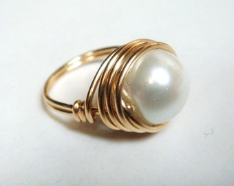 Swarovski Pearl Ring   White Pearl Ring 10mm   14K Gold Filled Pearl Ring   Wire Wrapped Ring