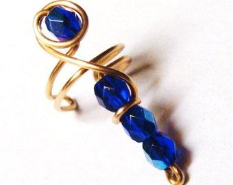 Cobalt Blue Ear Cuff, Cobalt Blue Czech Glass Bead Ear Cuff, Wire Wrap Ear Cuff, 14K Gold Filled Ear Cuff Etsy Jewelry