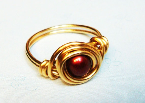 Red Pearl Ring - Cherry Red Freshwater Pearl Ring - 14k Gold Ring - Wire Wrapped Ring