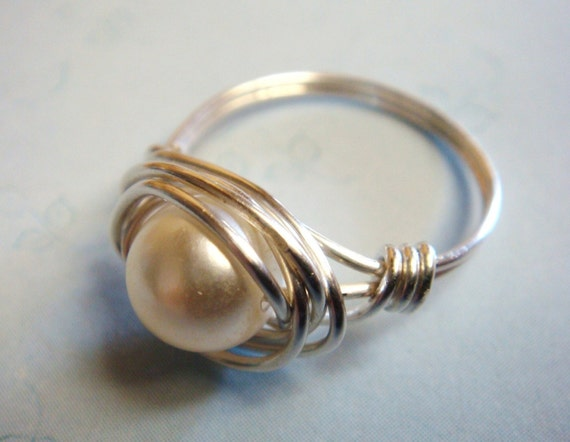 Vintage Glass Pearl Bead Sterling Silver Wire Wrapped Ring