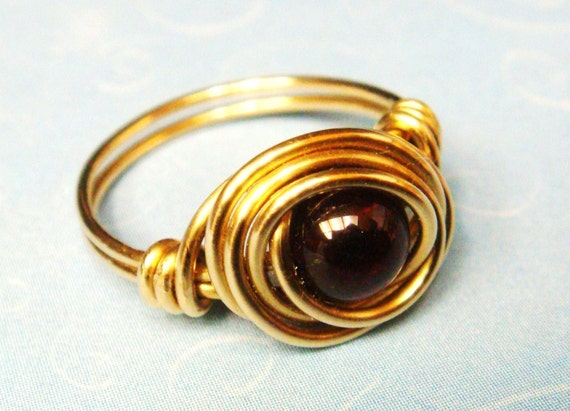 Garnet Ring - Garnet Birthstone Ring - January Birthstone Ring - Garnet Gemstone 14K Gold Filled Ring - Wire Wrapped Ring