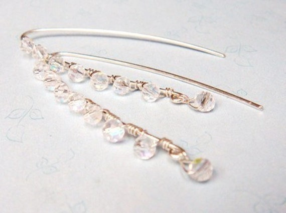 Crystal Earrings    Sterling Silver Earrings Embellished with Tiny Crystal Beads  Bridal Jewelry  Bridesmaids Gifts