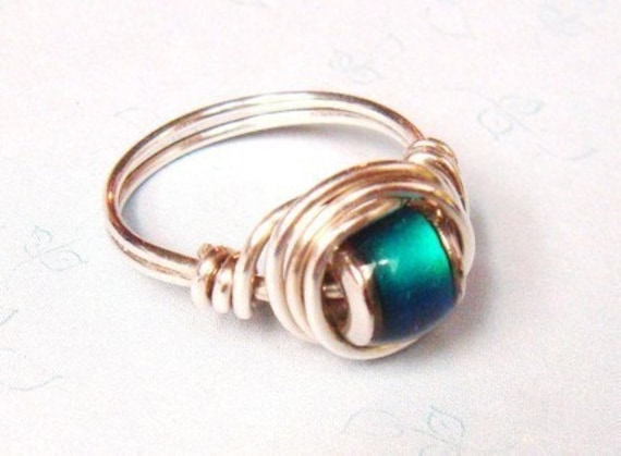 Mood Beads Ring - Sterling Silver Ring - Wire Wrapped Ring