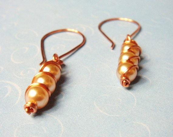 Champagne Glass Pearl Triple Decker Copper Wire Wrap Jewelry Earrings