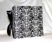 Black with White  Damask Recipe Album with  personalized recipe cards 4x6 (3x5 by request)