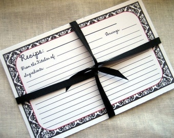 Recipe Cards Black and White Damask With Red Trim 4x6 (3x5 by request)