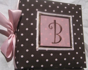 Recipe Organizer-Monogrammed Brown and Pink Polka Dot Recipe  Album, Recipe Storage,  With 20 Custom Recipe cards and File tabs