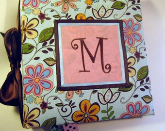 Monogrammed pink brown blue Floral Recipe Album  With 20 Custom Recipe cards and File tabs