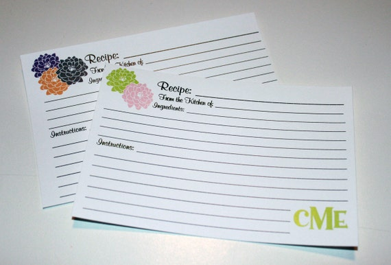 20 Personalized Recipe Cards Dahlia Flowers with your choice of color 4x6 or 3x5