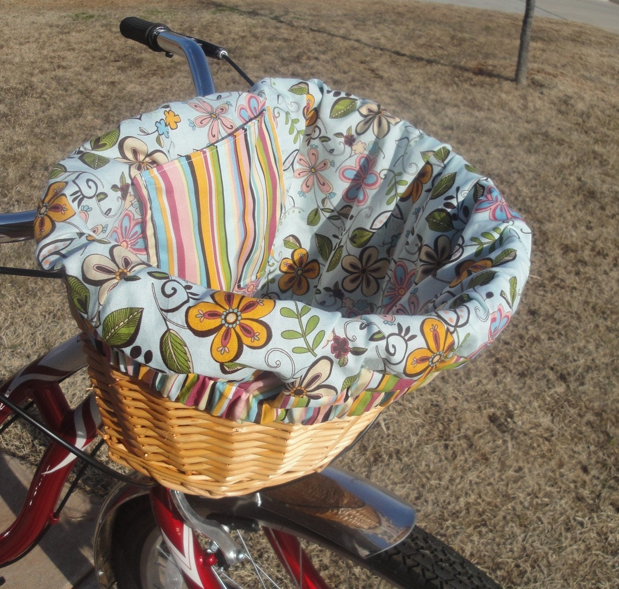 Handmade Bicycle Baskets : Custom bicycle basket liner for cruiser bikes mesh wicker or
