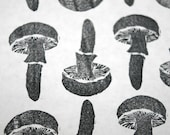 Hand Stamped Mushroom Love Wrapping Paper
