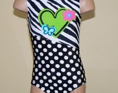 Gymnastics Dance Leotard  - Black Polka Dots with Animal Print and Heart Inset - Toddlers/Girls  Size 2T - C5