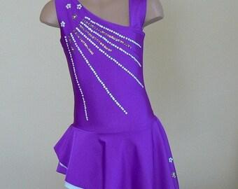 Dark Purple Figure Skating Dress. Toddlers Girls Figure Skating Dress. Asymmetric Skating Dress. SIZES 2T - Girls 12