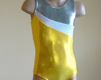 Gymnastic Leotard Leotard Yellow/White/Silver. Toddlers Girls Gymnastics Leotard. SIZES 2T - Girls 12