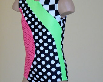 Black Polka dots and Checkerboard Leotard. Toddlers Girls Gymnastics Leotard. Dancewear.  Size 2T - Girls 10