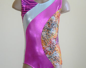 Gymnastic Dance Leotard Multi animal print/ pink/ white Size 2T -