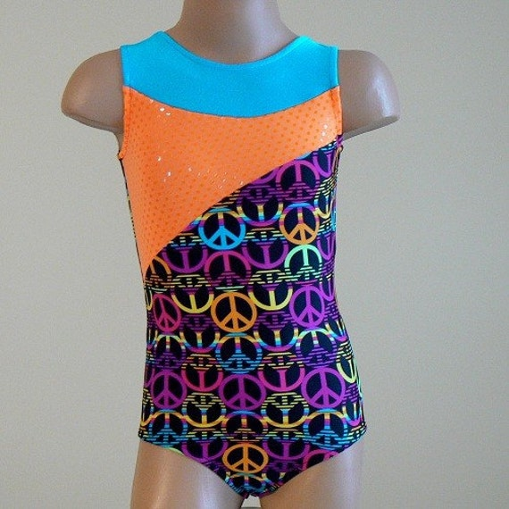 Gymnastics Dance Leotard Peace Sign with Turquoise and Bright Orange Insets Size 2T 3T 4T
