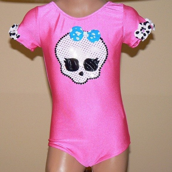 Girls Leotard with Girly Monster Applique Size 2T - C 7