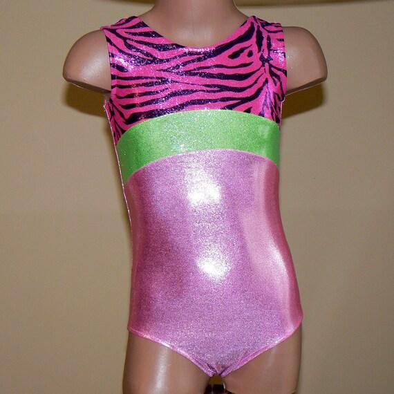Gymnastics Dance Leotard Pink/Lime green/Zebra print Size 2T- C7