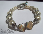 Creamy White Glass Pearl and Abalone Double Heart Bracelet