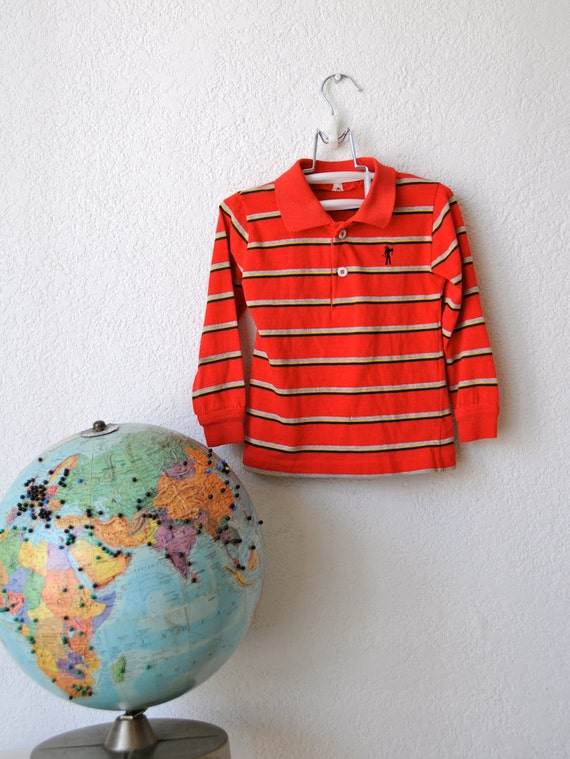Toddler Boy Levi Long Sleeve Striped Vintage Polo Shirt - 50% OFF