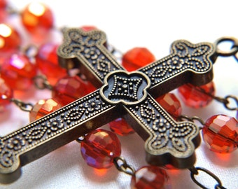 Glittery Red Rosary