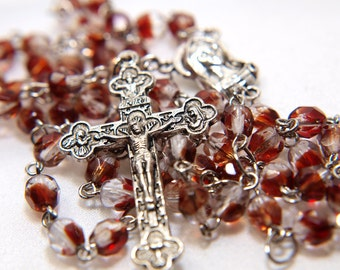 Red and Brown Czech Glass Rosary