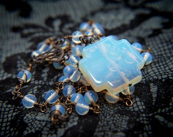 Sea Opal Glass and Natural Brass Rosary