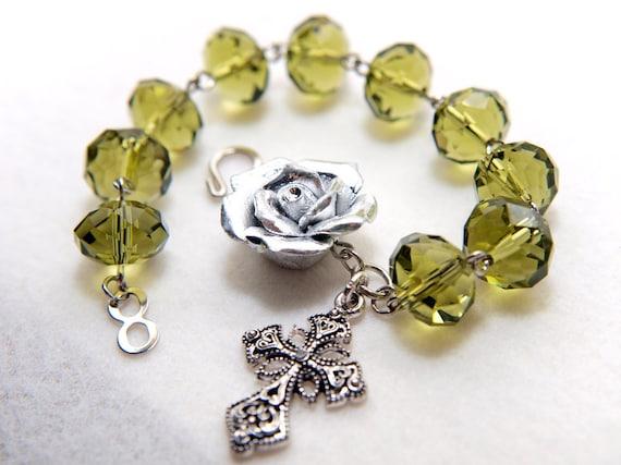 Silver Rose and Olivine Rosary Bracelet