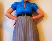 Recycled dress military buttons black and white stripe