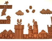 Mario Magnets, Extra Large 48 Piece Set w/ Castle and Custom Powerup, Natural Bamboo